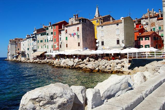 domy, kameny, moře